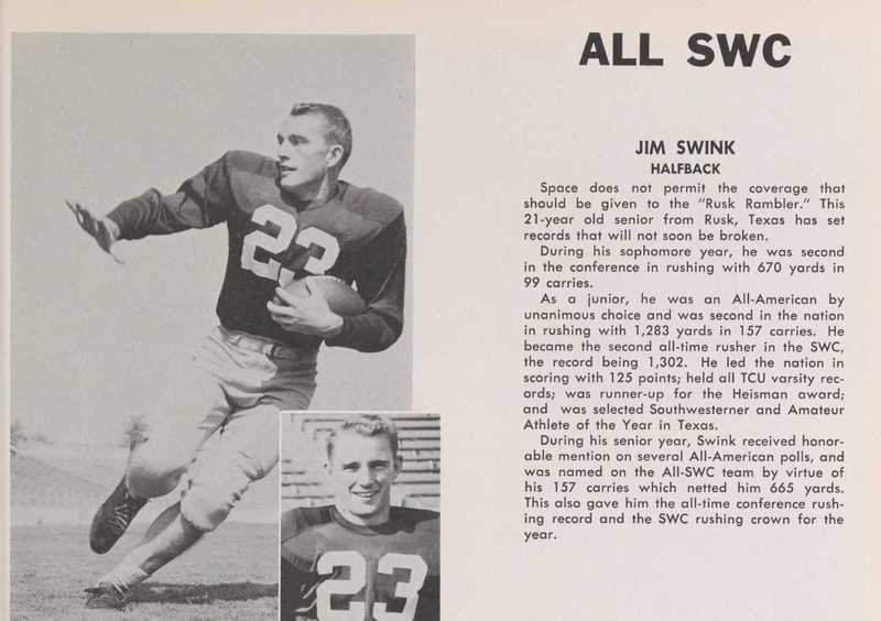 ALL SWC Jim Swink Halfback
