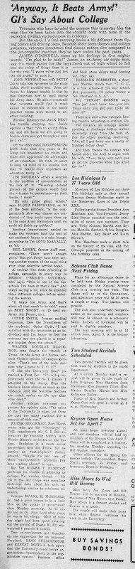 1946 Skiff article <br /> Veterans describe their college experience