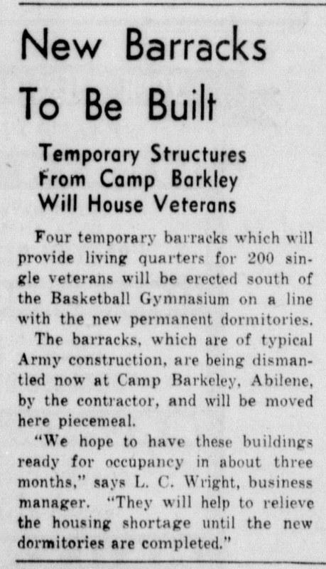 1946 Skiff Article <br /> Military housing for single veterans
