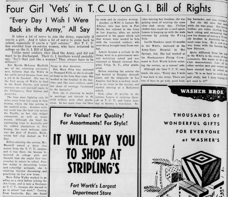 TCU ladies and the G.I. Bill